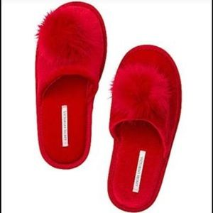 Victoria's Secret Red Pom Pom Slipper